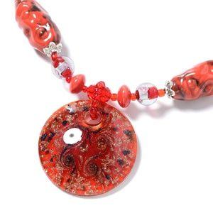 Red Murano Millefiori Glass Mult Gemstone Necklace